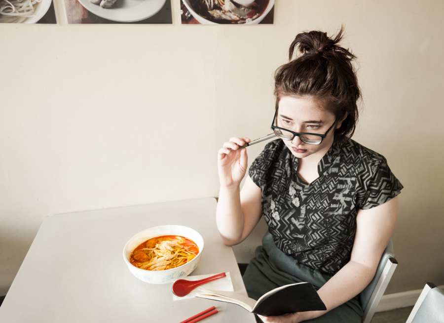 Vanessa Crofskey, performance artist and spoken word poet, at Noodle House on Great North Road. Photo by Megan Blennerhassett