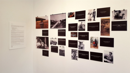 Photographs of market gardens exhibited at Gum Sarn, Depot Artspace. Photo by Margaux Wong