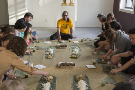 Eat My Rice by Louie Bretaña at Performance Art Week Aotearoa 2017. Image courtesy of PAWA. Photo by Essi Airisniemi