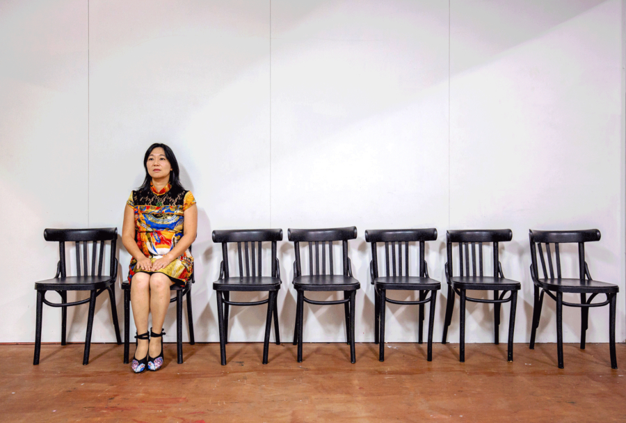 Renee Liang, producer of 等凳 - The Chairs, at Te Pou Theatre. Photo by Bob Scott Photography