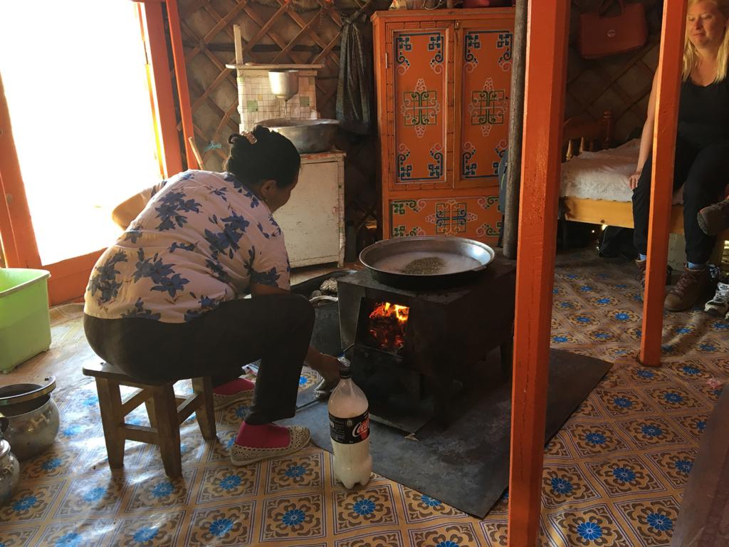 Suutei tsai being prepared inside a traditional ger. Photo by Sena Park