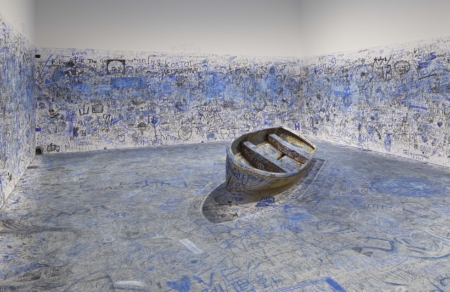 "Yoko Ono, Add Color Painting (Refugee Boat), 1960/2016-2018. Participatory installation. Dimensions variable. Collection of the artist. Installation view: ""Catastrophe and the Power of Art,"" Mori art Museum, Tokyo, 2018. Photo: Kioku Keizo. Photo courtesy: Mori Art Museum, Tokyo"