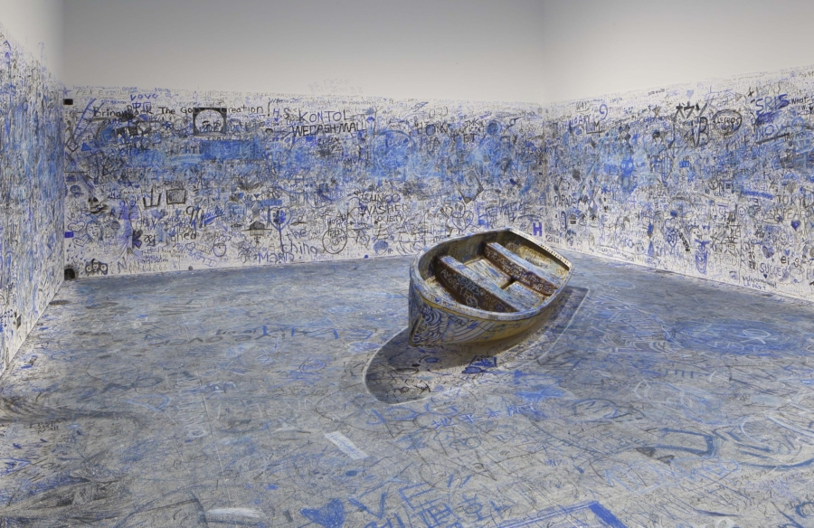"""Yoko Ono, Add Color Painting (Refugee Boat), 1960/2016-2018. Participatory installation. Dimensions variable. Collection of the artist. Installation view: """"Catastrophe and the Power of Art,"""" Mori art Museum, Tokyo, 2018. Photo: Kioku Keizo. Photo courtesy: Mori Art Museum, Tokyo"""